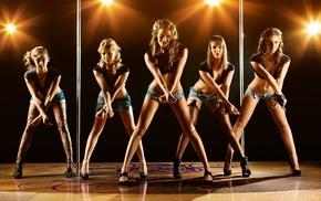 dancing poles, girl, eyes, jean shorts, hot pants, group of girl