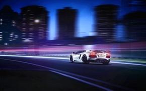 car, Lamborghini Aventador, motion blur, white cars, Lamborghini