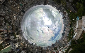 panoramic sphere, clouds, city, Tokyo