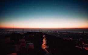 city, sunset, lights, night