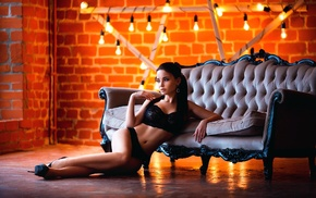 couch, Angelina Petrova, lingerie, girl, model