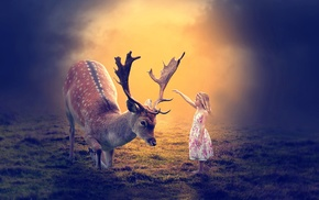 artwork, fantasy art, deer