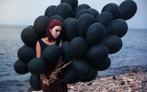 model, girl outdoors, girl, balloon, redhead, beach