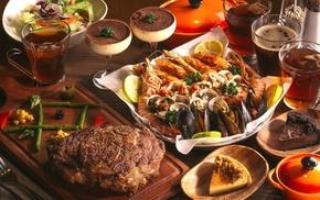 wine, steak, food, dessert, Sea food