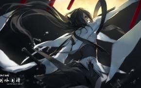 Pixiv Fantasia, anime girls, original characters, swd3e2, sword, katana