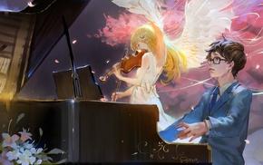 violin, piano, anime, Miyazono Kaori, wings, Arima Kousei