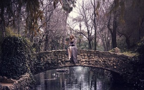 bridge, trees, girl outdoors, sitting, nature, water