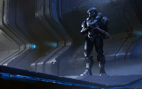 Spartans, futuristic, fantasy art, soldier, Halo, gun