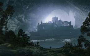building, fantasy art, Espen Saetervik, cave, castle, trees
