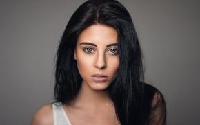 black hair, portrait, Julia Carina, Martin Khn, girl, face