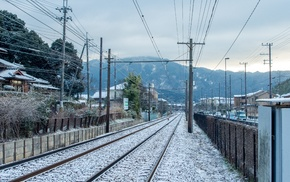 railway, mountains, power lines