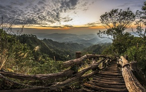 path, sunset, national park, hills, landscape, Taiwan