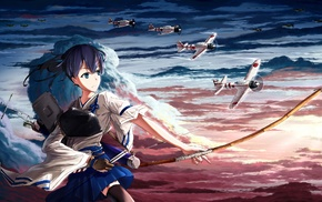 Kantai Collection, anime, anime girls, weapon, bow, Kaga KanColle