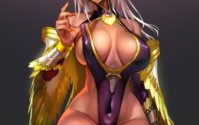 anime girls, dark skin, red eyes, wings, cleavage, no bra