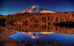 reflection, landscape, mountains, water, forest