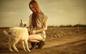 redhead, girl outdoors, girl, goats