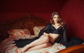 girl, lace, wavy hair, black panties, in bed, model
