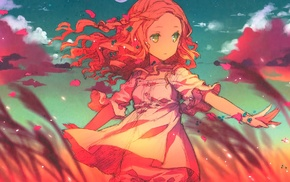green eyes, original characters, clouds, anime girls, field, wind