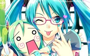 Hatsune Miku, glasses, anime girls, Vocaloid, anime