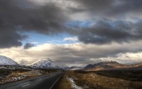 road, Scotland, clouds