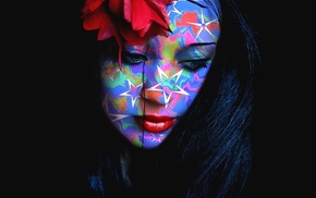 face, red lipstick, girl, black hair, face paint, colorful