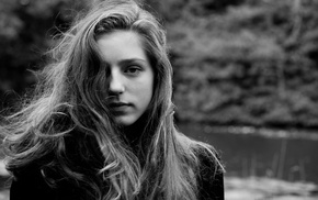 monochrome, Birdy, girl, hair in face, looking at viewer