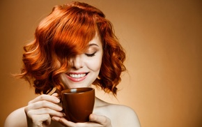 curly hair, girl, cup, smiling, redhead