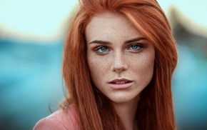 depth of field, girl, blue eyes, portrait, redhead, looking at viewer