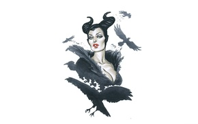 white background, Elias Chatzoudis, fantasy girl, simple background, Maleficent, birds