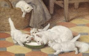 painting, artwork, cat