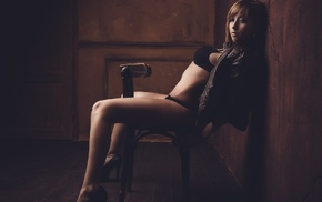 chair, looking at viewer, girl, model, sitting