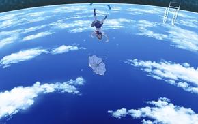 school uniform, planet, clouds, Earth, umbrella
