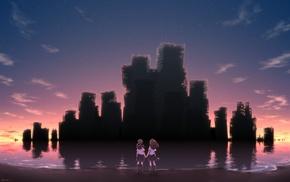sunset, building, sky, beach, ruin, stars