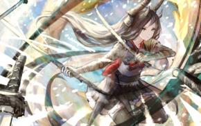 katana, anime, Pixiv Fantasia, sword, original characters, horns