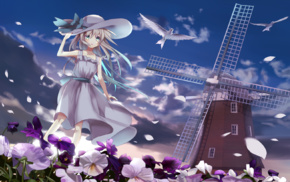 hat, flowers, windmill, flower petals, anime girls, original characters