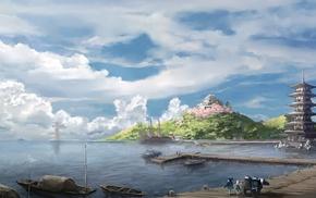 harbor, anime, landscape, Asian architecture, ports
