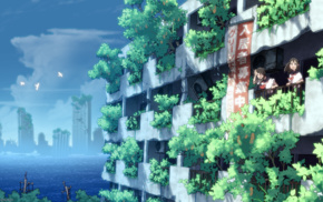 building, landscape, anime girls, anime, sailor uniform, original characters