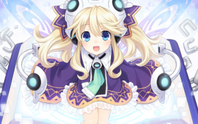 open mouth, Hyperdimension Neptunia, blue eyes, Histoire Hyperdimension Neptunia, anime, blonde