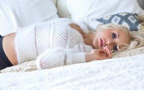 pantyhose, blonde, white sweater, Sabrina Nichole