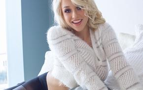 blonde, Sabrina Nichole, white sweater, pantyhose
