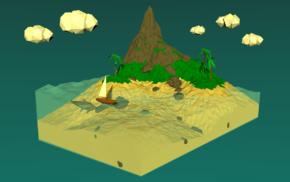 3D, minimalism, island, low poly
