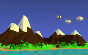 mountains, landscape, low poly, hot air balloons