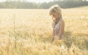 blonde, field, spikelets, white dress, necklace, girl