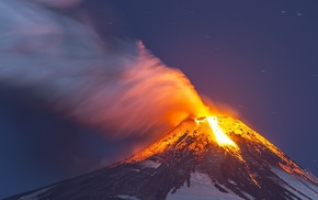 lava, snowy peak, smoke, Chile, nature, long exposure