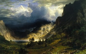 nature, fantasy art, mountains, landscape, painting, A Storm in the Rocky Mountains