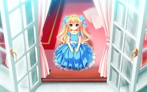 blonde, dress, Baka Moe Heart ni Ai wo Komete, window, anime, Chinami Kamiwazumi