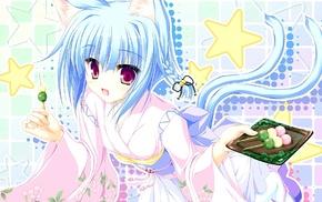 original characters, anime girls, nekomimi, kimono, dango, anime