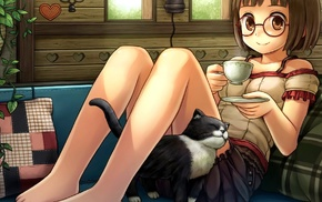anime, cup, glasses, meganekko, original characters, anime girls