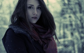 looking at viewer, scarf, girl, girl outdoors, winter