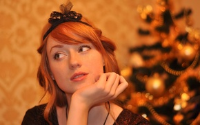 looking away, redhead, hand on face, hair bows, Alina Kovalenko, girl